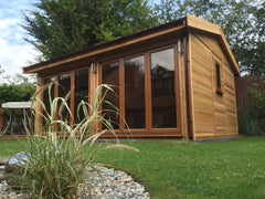 18ft x 12ft Contemporary Garden Office with Cedar Clad, Cedar Shingles and 2 Sets of Bi-Fold Doors
