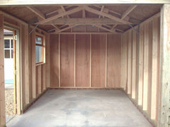 Internal View of Single Timber Garage, 100mm x 38mm Framing, Vapour Barrier and 4mm Ply