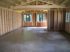 Internal View of Timber Frame Farms Shop with 100mm x 38mm Framing, Vapour Barrier and 4mm Ply
