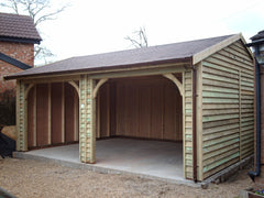 20ft x 18ft Timber Feather Edge Double Garage with 2 Open Cart Lodge Openings and Slate Grey Felt Tiles