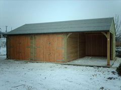 30ft x 20ft Triple Garage Including a Single Cart Lodge Opening, 2 Sets of Standard Double Doors and a Felt Roof