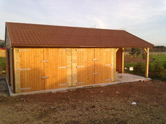 30ft x 20ft Triple Garage Including Single Cart Lodge and Recycled Red / Brown Roof Tiles