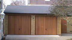 20ft x 20ft Double Timber Garage with Cedar Up and Over Doors and a Slate Grey Tile Roof