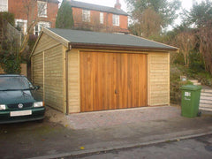 13ft x 18ft Single Timber Garage with a Felt Tile Roof and Garage Door Under the Eaves