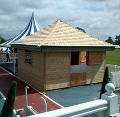 Timber Frame Kiosk / Food Outlet at Dallas Burston Polo Ground with Cedar Shingles and Stable Door