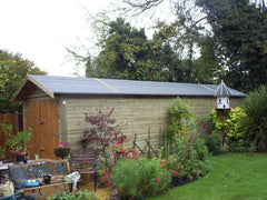 10ft x 36ft Long Single Timber Garage with Heavy Duty Green Mineral Felt