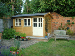 12ft x 8ft Traditional Garden Office, Pitched Roof, Slate Grey Felt Tiles and Cream Double Glazed Windows and Doors