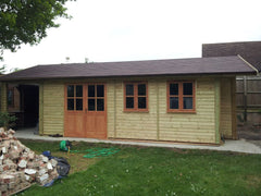 Work Room with Covered Work Area, Felt Tiles and Garden Office Windows and Double Doors