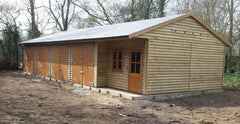 50ft x 20ft Feather Edge Timber Garage with 4 Standard Garage Doors, Recessed Garden Office and a Tapco Slate Roof