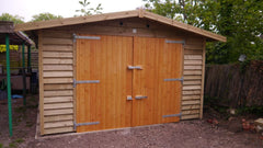 12ft x 20ft Single Timber Garage with Feather Edge Cladding, Set of Double Garage Doors and Heavy Duty Green Mineral Felt