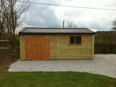 20ft x 10ft Single Timber Garage with Brown Rollaclad Metal Roof, Set of Double Doors and a Standard Garage Window