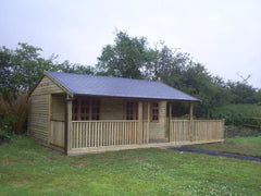 20ft x 16ft Pavilion with Additional 8ft x 16ft Decked Area, Balustrade and a Felt Tile Roof