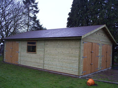 20ft x 30ft Double Timber Garage with 2 Sets of Double Garage Doors and an Additional Set on the Side with a Felt Tile Roof