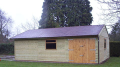 20ft x 30ft Double Timber Garage with Double Doors Under the Eaves, 2 Large Garage Windows and a Felt Tile Roof