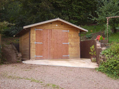 10ft x 18ft Single Timber Garage with Offset Standard Double Doors and a Felt Tile Roof