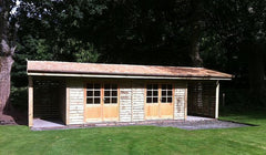 30ft x 12ft Timber Building with Log Stores at Both Ends with Cedar Roof Shingles