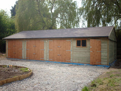40ft x 20ft Quadruple Timber Garage with 3 Sets of Standard Garage Doors, a Standard Garage Window and a Personnel Door