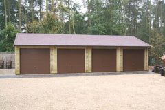 40ft x 20ft Quadruple Timber Garage with 4 Brown Metal up and Over Doors and a Felt Tile Roof