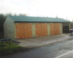 Quadruple Timber Garage with 3 Sets of Standard Timber Doors, a Heavy Duty Mineral Felt. One Bay has been used for Stabling
