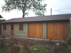 40ft x 20ft Quadruple Timber Garage with 2 Cedar Up and Over Doors, Garden Office Door and Windows and a Felt Tile Roof