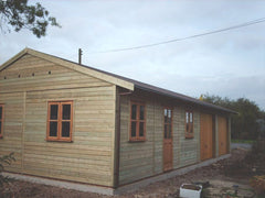 40ft x 20ft Quaruple Timber Garage with Double Glazed Garden Office and Windows