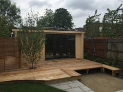 5.5m x 3.0m Contemporary Garden Office Including Store Room and Grey Anthracite uPVC Windows and Doors, Before Painting