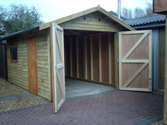 10ft x 16ft Single Feather Edge Clad Timber Garage with Fully Framed and Ply Lined Double Doors