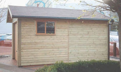 10ft x 16ft Single Timber Garage with a Cedar Up and Over Garage Door, Garage Window and Felt Tiles