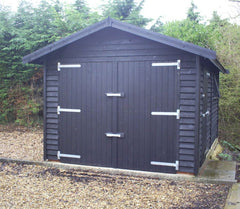 Single Timber Garage, Feather Edge Clad, Cedar Tile Roof and Painted in an Ebony Wood Stain