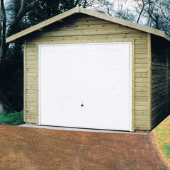 Standard Single Timber Garage with Georgian Up and Over Garage Door with Standard 300mm Overhangs