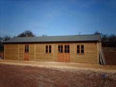 Timber Frame Farm Shop with Double Glazed Timber Doors and Windows and Heavy Duty Green Mineral Roof