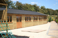 40ft x 20ft Timber Frame Farm Shop with Double Glazed Timber Doors and Windows and Black Onduline Roof