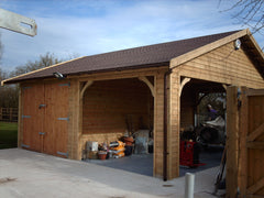 20ft x 20ft Double Timber Garage with a Single Open Cart Lodge Bay and Felt Tiles