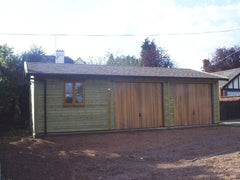 30ft x 20ft Triple Timber Garage with 2 Cedar Up and Over Garage Doors, Garden Office Double Glazed Window and Cedar Effect Felt Tiles