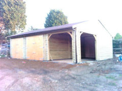 Triple Timber Garage, 2 Sets of Standard Garage Doors and Single Cart Lodge Opening