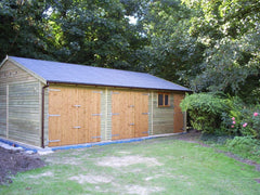 30ft x 20ft Triple Timber Garage with 2 Sets of Standard Garage Doors, Standard Garage Window, Personnel Door and Felt Tiles
