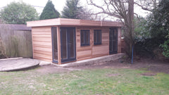 Contemporary Garden Office, with Cedar Clad and Grey Anthracite uPVC Doors and Windows