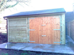 Wide Single Timber Garage, Feather Edge Clad, Standard Double Doors and Felt Tile Roof