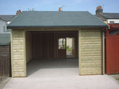 14ft x 20ft Timber Garage with Opening for Customer to Fit Their Own Door, a Set of 6 Pane Double Doors and Slate Grey Felt Tile Roof