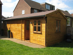 10ft x 30ft Timber Framed Work Room with a Felt Tile Roof and Double Glazed Garden Office Door and Windows