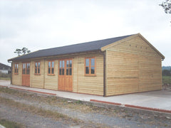 40ft x 20ft Farm Shop with Black Onduline Roof and Garden Office Double Glazed Doors and Windows