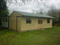 36ft x 12ft Cricket Pavilion, with a Lined Canopy, 2 Large Garage Windows and Georgian Double Doors