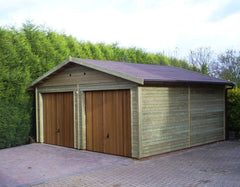 20ft x 20ft Double Timber Garage with Cedar Up and Over Garage Doors in the Gable End and a Felt Tile Roof