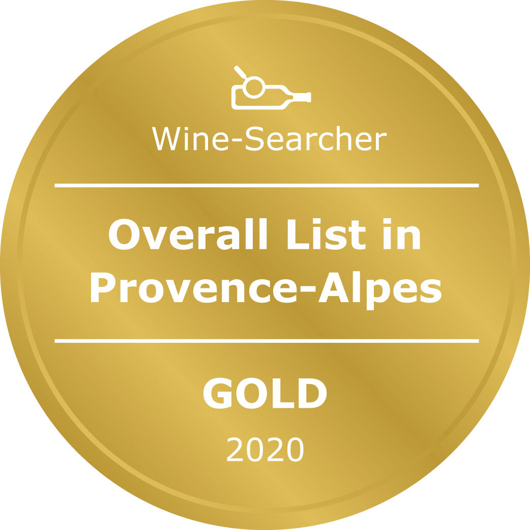 Award wine wine list Gold for Overall list Provence, Antibes wine shop supplying wines to yachts