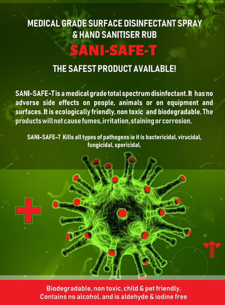 SANI-SAFE-T - Sanitiser & Disinfectant, Medical/Food Grade, Eco-friendly, anti-COVID - 1Litre Spray