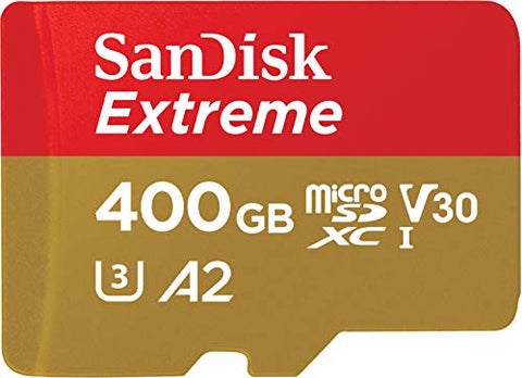 SanDisk Extreme 400 GB microSDXC Memory Card + SD Adapter with A2 App Performance up to 160 MB/s, Class 10, U3, V30
