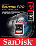 SanDisk Extreme PRO 256 GB SDXC Memory Card, Up to 170 MB/s, Class 10, U3, V30