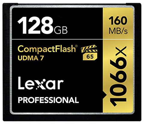Lexar Professional 128GB 1066x Speed (160MB/s) UDMA 7 CompactFlash Memory Card
