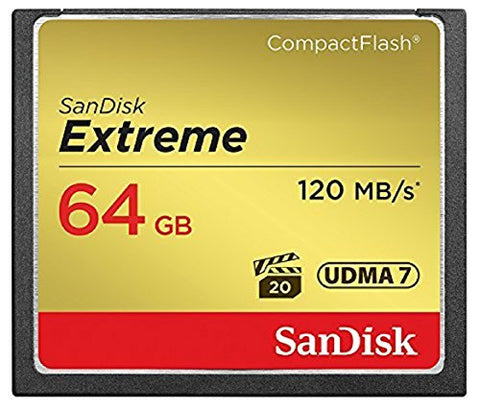 SanDisk Extreme UDMA7 Compact Flash Card -  Black/Gold, 64GB