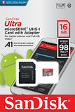 SanDisk Ultra 16GB microSDHC Memory Card  + SD Adapter with A1 App Performance  up to 98MB/s, Class 10, U1